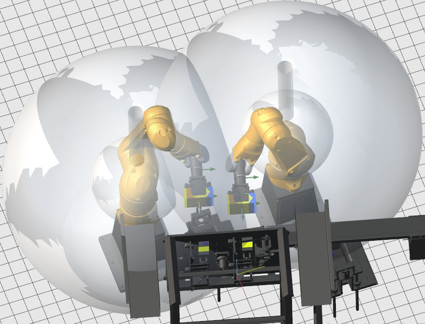 Aplicação com colisão de Workspace entre robôs – Exige mais critério nos movimentos ou programação de limites para os robôs