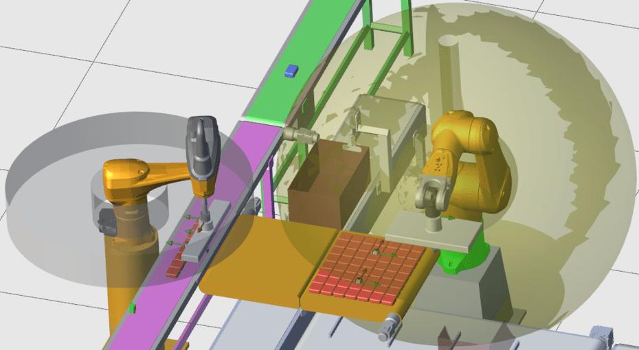 Aplicação sem colisão de Workspace entre robôs, mas com colisão entre robô e mecânica – Mais liberdade para os movimentos