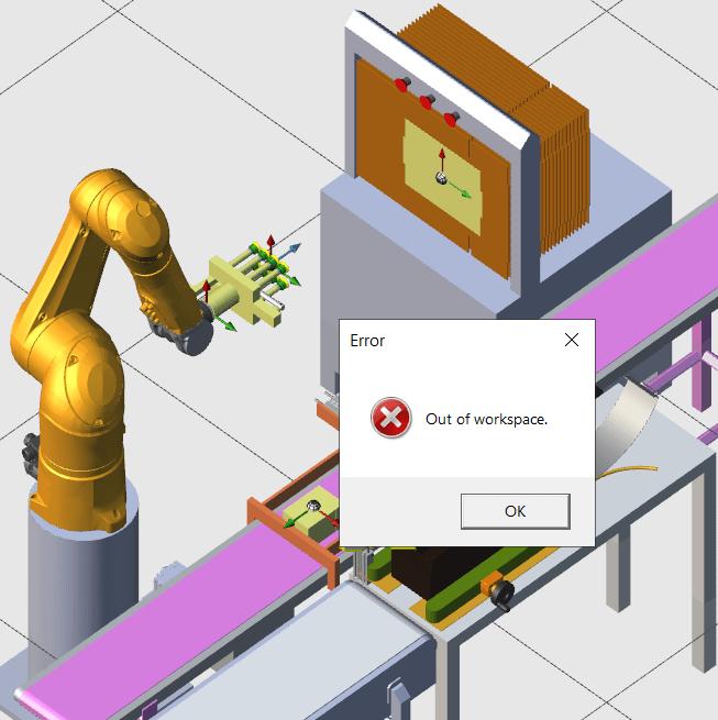 Simulação acusando que o robô não alcançará o ponto desejado