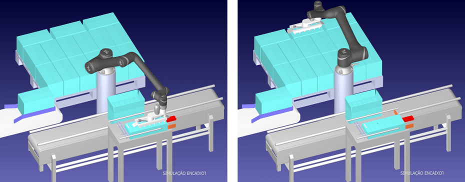 Simulação e medição de tempos de ciclo – Projeto com robô já existente no cliente