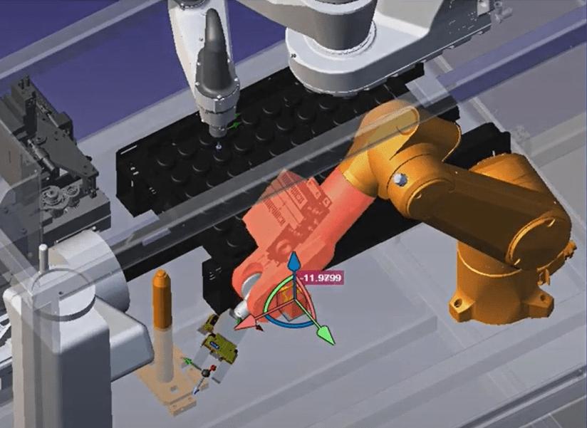 Simulação acusando colisão do antebraço do robô com a estrutura mecânica